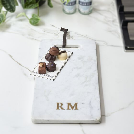 Magic Marble Serving Plate white