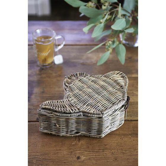 Rustic Rattan Teapot Tea Box, Teebeutel Box aus Rattan